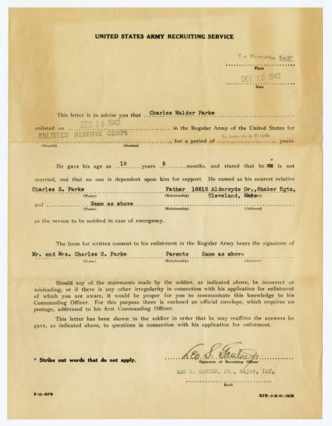 U.S. Army Recruiting Service enlistment form for C. Walder Parke
