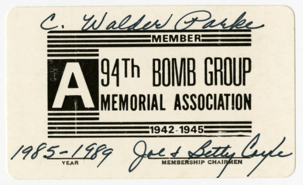 94th Bomb Group Memorial Association membership card for C. Walder Parke