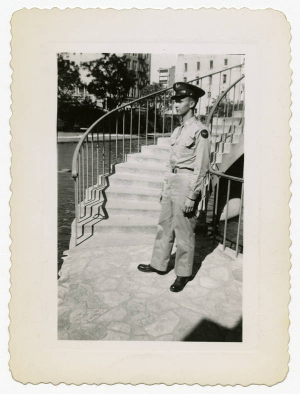C. Walder Parke by a staircase photograph
