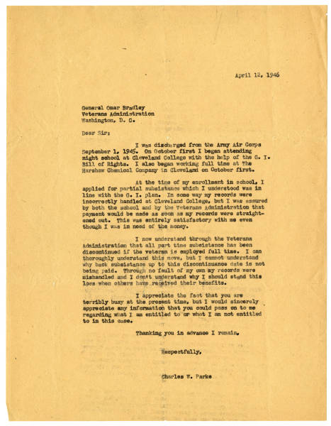 C. Walder Parke letter to General Omar Bradley about veterans' benefits, April 12, 1946
