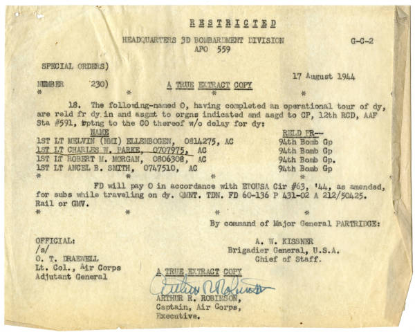 U.S. Army Air Forces special orders for four members of 94th Bombardment Group, August 17, 1944