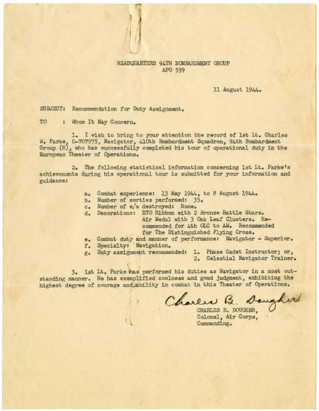 Colonel Charles B. Dougher recommendation letter for duty assignment, August 11, 1944