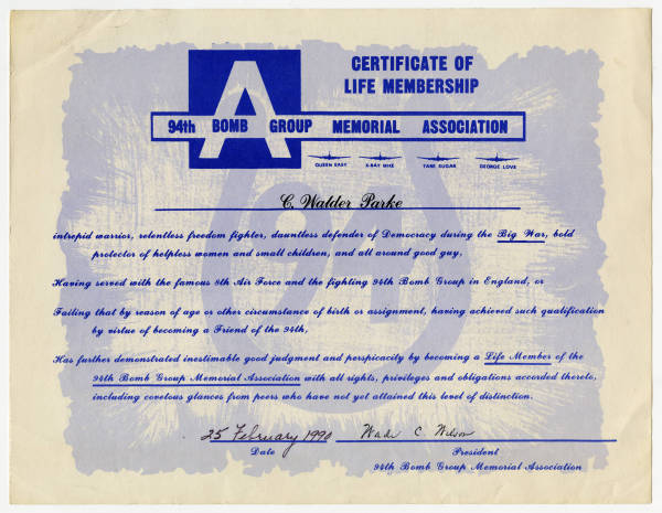 94th Bomb Group Memorial Association life membership certificate for C. Walder Parke