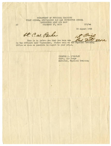 Lockbourne Army Air Base notice to C. Walder Parke about his golf tournament prize