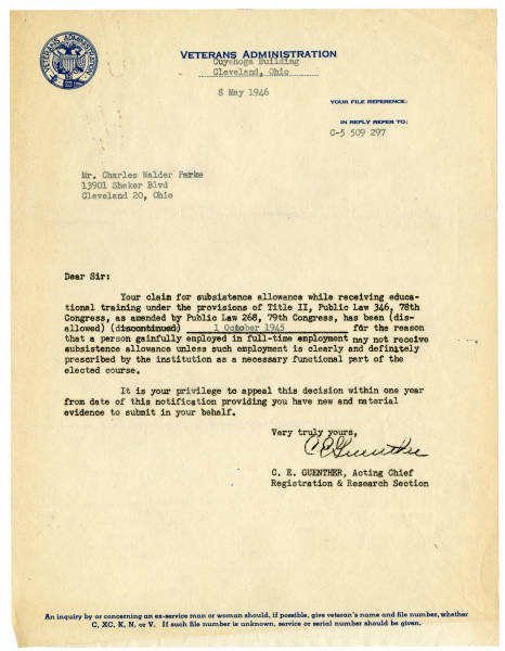 Veterans Administration letter to C. Walder Parke about veterans' benefits, May 8, 1946