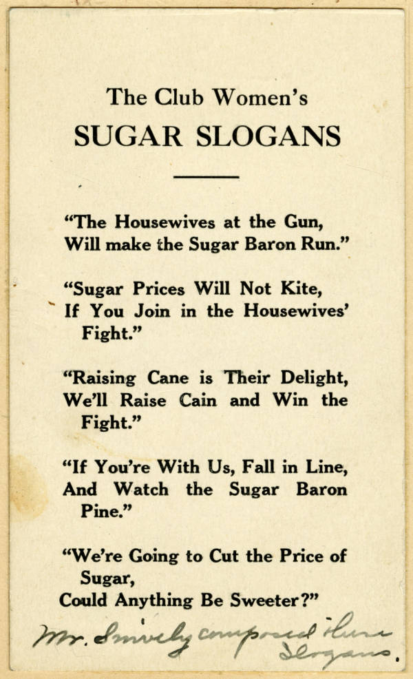 Clinton League sugar slogans