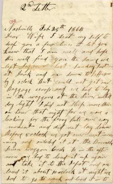 Anthony W. Ross Civil War Letter Regarding Traveling South