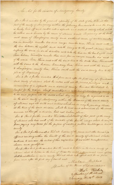 'Act for the division of Montgomery County'
