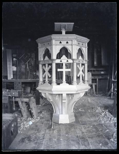 Pulpit being built