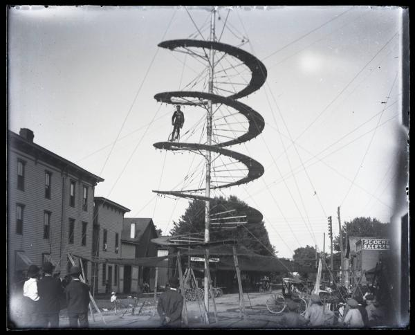 Unicyclist on aerial spiral