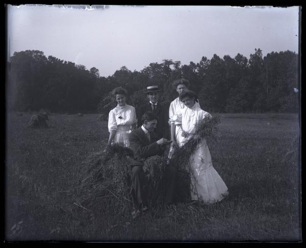 Group in a field of wheat