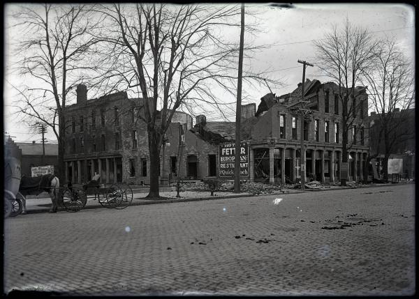 Hotel after fire photograph