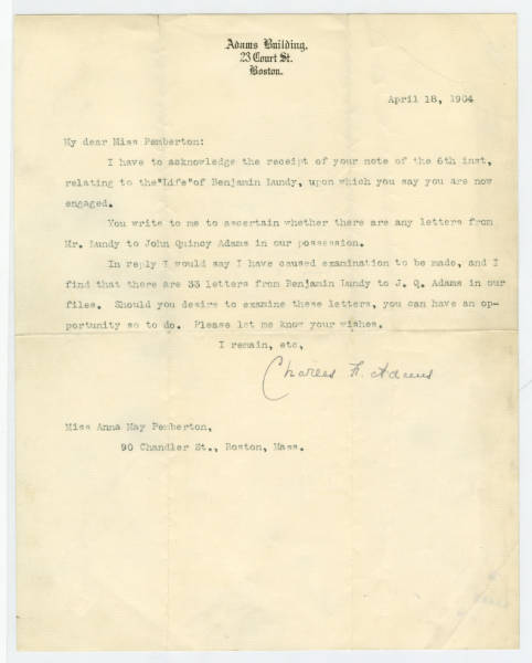 Charles H. Adams letter to Anna Pemberton, April 18, 1904