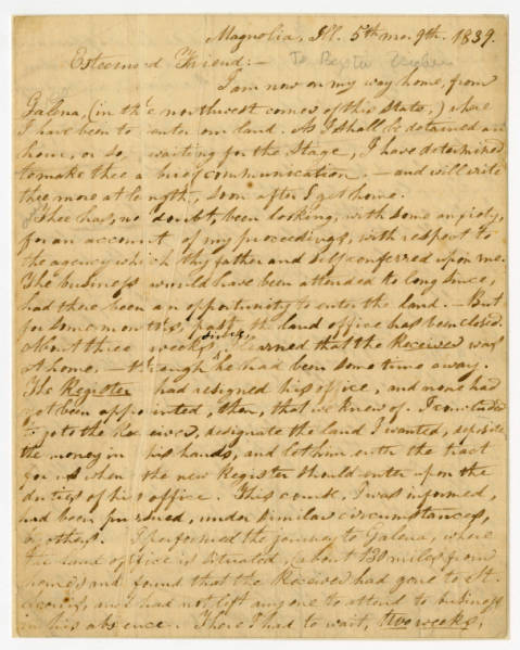 Benjamin Lundy letter to Paxton Vickers, May 9, 1839