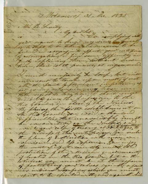 Benjamin Lundy letter, March 31, 1835