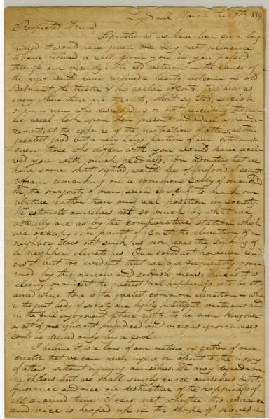 Eli Nichols letter to Benjamin Lundy, March 17th, 1839