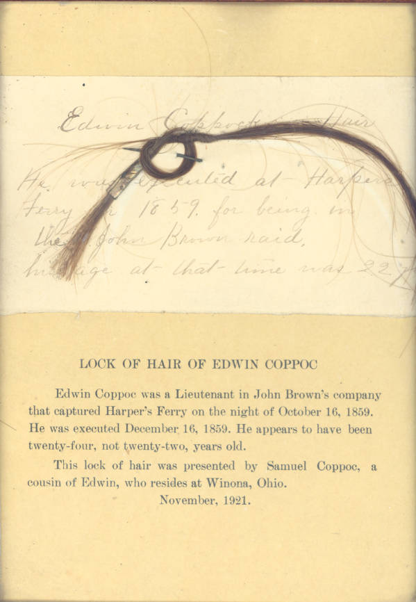 Edwin Coppoc lock of hair