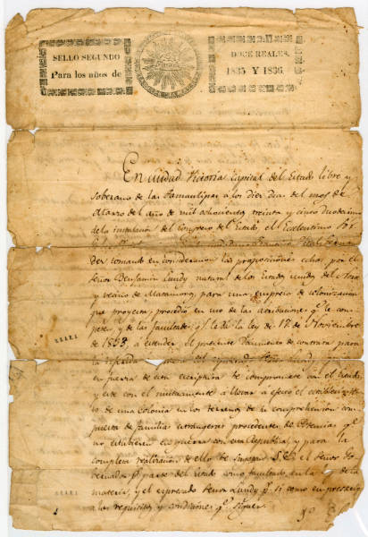 Mexican land grant contract to Benjamin Lundy, March 10, 1835 (Spanish)