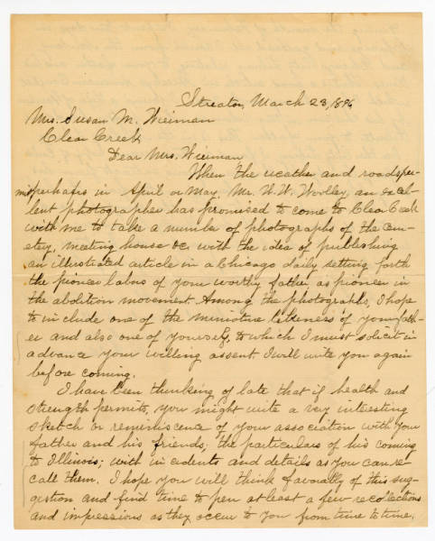 R. Williams letter to Mrs. Susan M.Weirman, March 23, 1896
