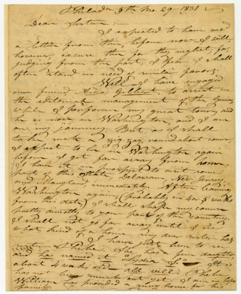 Benjamin Lundy letter to Lydia S. Wierman, May 29, 1831