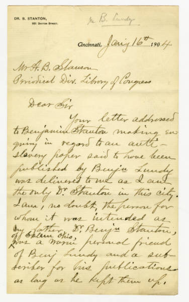 Byrne Stanton letter to A.B. Stanson, January 16, 1904