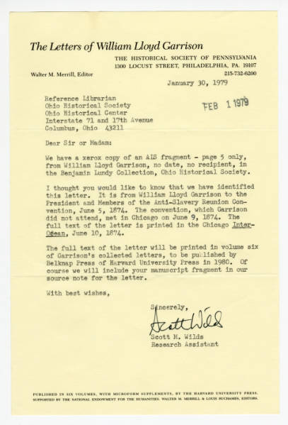 """Scott M. Wilds letter to """"Sir or Madame,"""" January 30, 1979"""