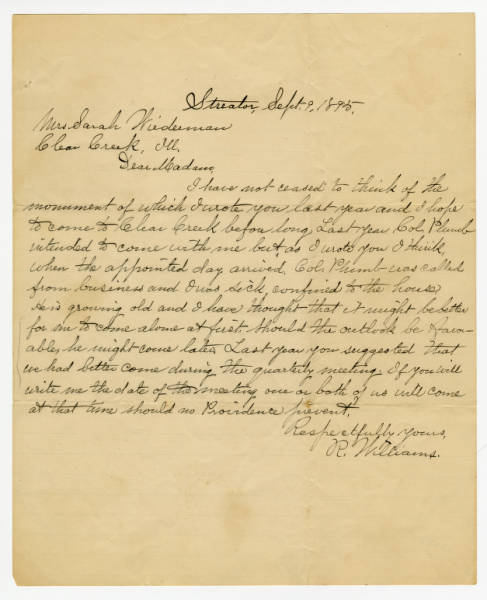 R. Williams letter to Mrs. Susan M.Weirman, September 9, 1895