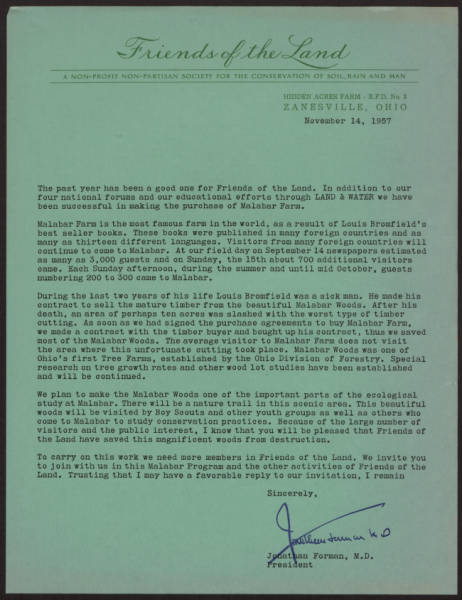 Friends of the Land letter to members on Malabar Farm