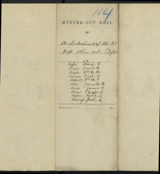 55th Ohio Volunteer Infantry Regiment muster-out rolls for hospital detachment