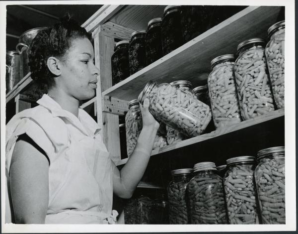 Inmate canning green beans photograph