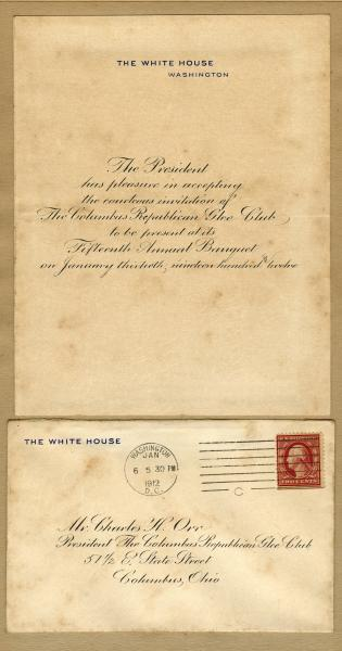 President Taft letter to the Republican Glee Club