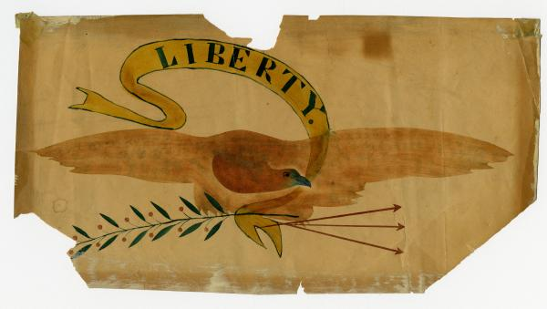 Eagle and liberty banner painting