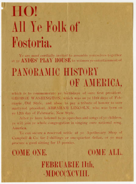 'Ho! All Ye Folk of Fostoria' advertisement