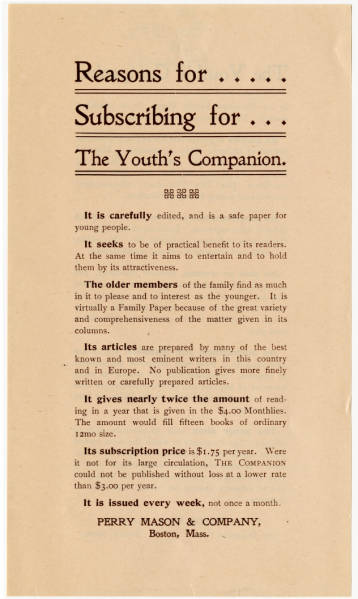'Youth's Companion' advertisement