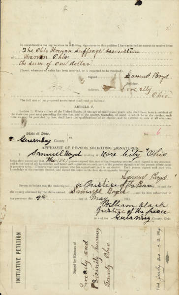 Guernsey County Women's Suffrage Petition