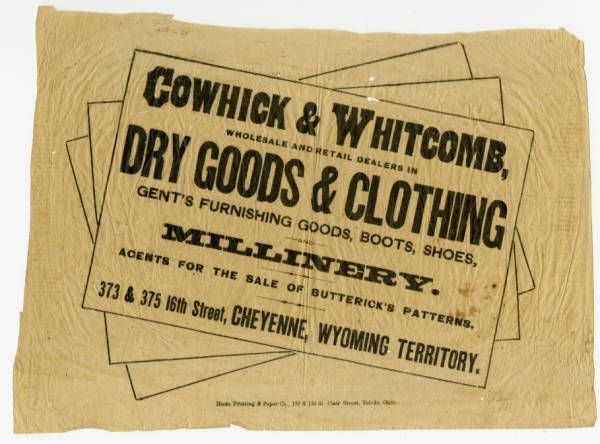 Cowhick & Whitcomb advertisement