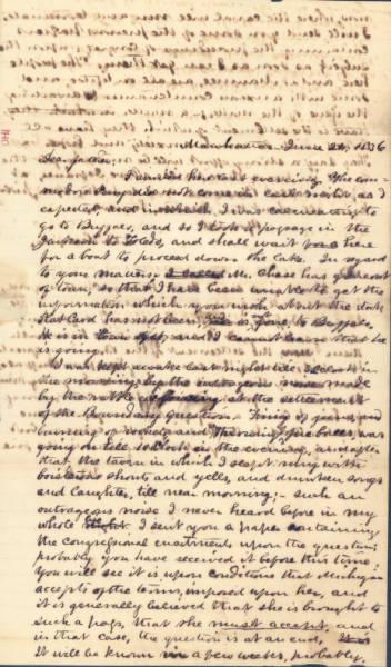 J. B. Holgate Letter Regarding the Ohio-Michigan Boundary Dispute