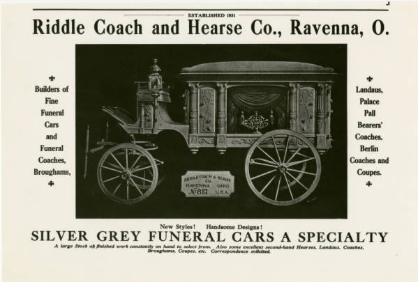 Merts & Riddle Coach and Hearse Company advertisements
