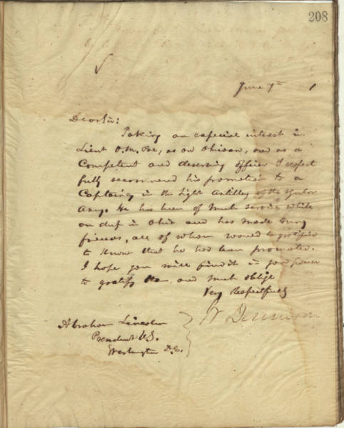 William Dennison Jr. letter to Abraham Lincoln