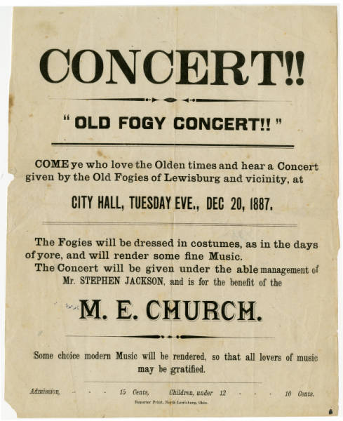 'Old Fogy Concert' advertisement