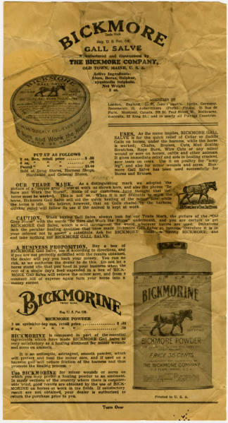 Bickmore Gall Salve and Powder advertisement