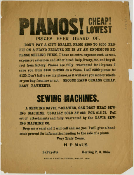 'Pianos!' advertisement