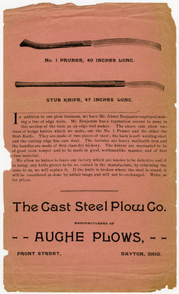 Hedge knives advertisement