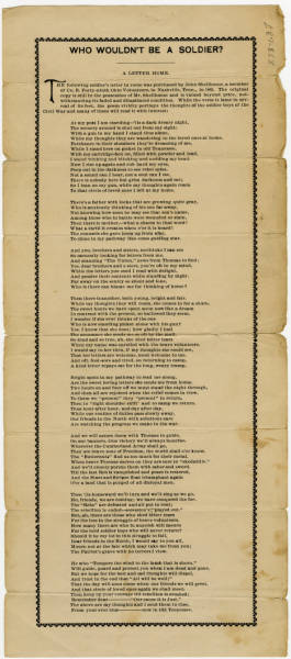 'Who Wouldn't Be a Soldier?' poem