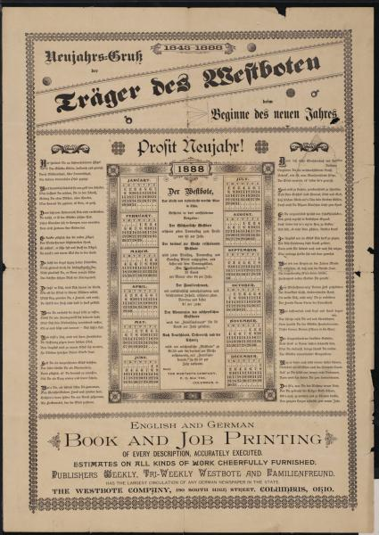 Triweekly Westbote and Familienfreund Newspaper advertisement