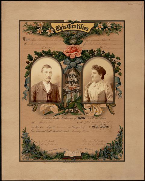 Valentine S. Stoner and Jennie Shank marriage certificate
