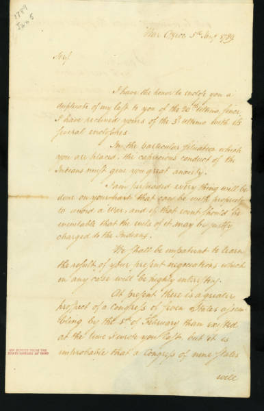 Henry Knox Letter to Arthur St. Clair