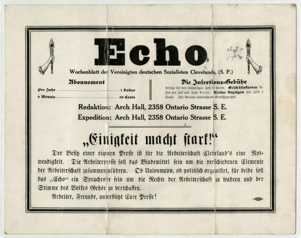 'Echo' newspaper advertisement
