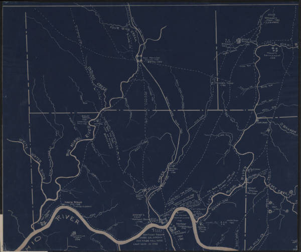 'Indian Trails and War Roads in South-Western Ohio' map