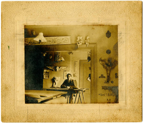 Ihna Thayer Frary in drafting room photograph